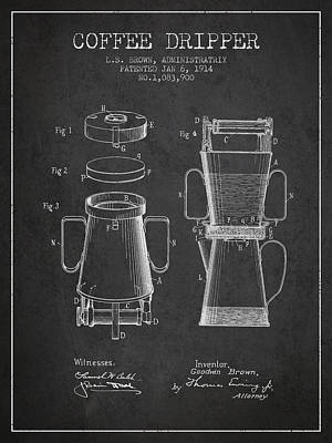 1914 Coffee Dripper Patent - Charcoal Poster by Aged Pixel