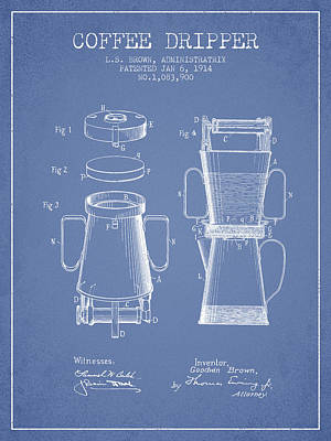 1914 Coffee Dripper Patent - Light Blue Poster by Aged Pixel