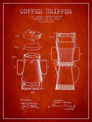 1914 Coffee Dripper Patent - Red Poster