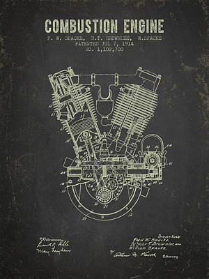 1914 Compustion Engine Patent - Dark Grunge Poster by Aged Pixel
