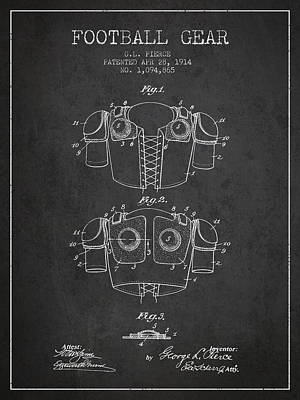 1914 Football Gear Patent - Charcoal Poster by Aged Pixel