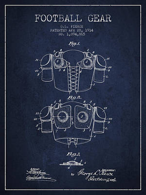 1914 Football Gear Patent - Navy Blue Poster by Aged Pixel