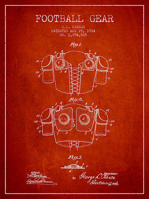 1914 Football Gear Patent - Red Poster by Aged Pixel