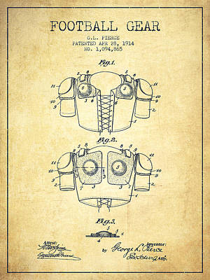 1914 Football Gear Patent - Vintage Poster by Aged Pixel