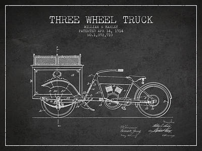 1914 Three Wheel Truck Patent - Charcoal Poster by Aged Pixel