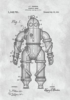 1915 Diving Suit Patent Poster by Dan Sproul