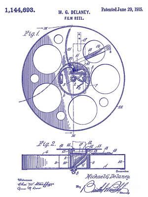 1915 Film Reel Patent Blueprint Poster