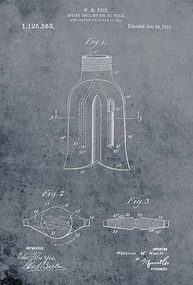 1915 Oil Drill Bit Patent Poster by Dan Sproul