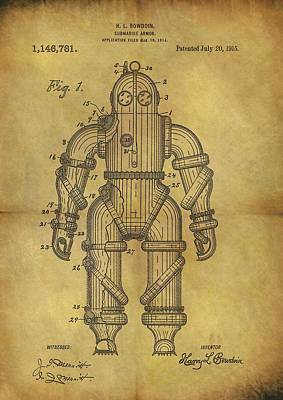 1915 Underwater Armor Suit Patent Poster by Dan Sproul