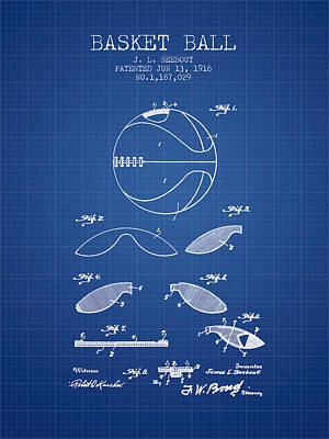 1916 Basket Ball Patent - Blueprint Poster