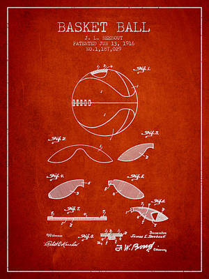 1916 Basket Ball Patent - Red Poster by Aged Pixel