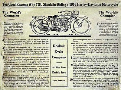 1916 Harley Davidson Advertisement Poster by Jon Neidert
