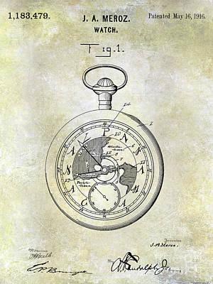 1916 Pocket Watch Patent Poster by Jon Neidert