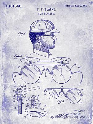 1916 Sunglasses Patent Blueprint Poster