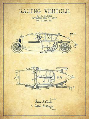 1917 Racing Vehicle Patent - Vintage Poster