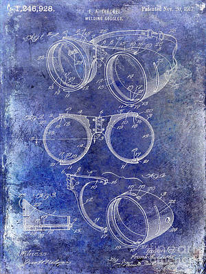 1917 Welders Goggles Patent Blue Poster