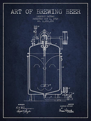 1918 Art Of Brewing Beer Patent - Navy Blue Poster