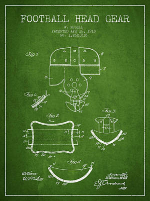 1918 Football Head Gear Patent - Green Poster by Aged Pixel