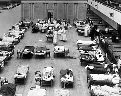 1918 Oakland Flu Hospital Poster by Underwood Archives