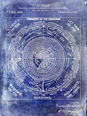 1919 Astrology Patent Blue Poster by Jon Neidert