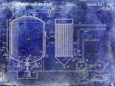 1919 Beer Brewing Patent Blue Poster by Jon Neidert