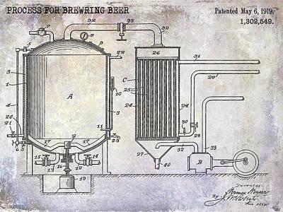 1919 Beer Brewing Patent Poster by Jon Neidert