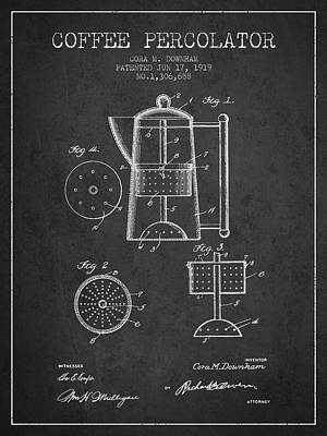 1919 Coffee Percolator Patent - Charcoal Poster