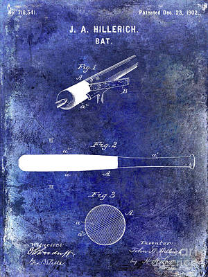 1920 Baseball Bat Patent Blue Poster