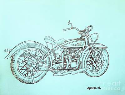 1920 Indian Motorcycle Graphite Pencil Sketch - Blue Background Poster