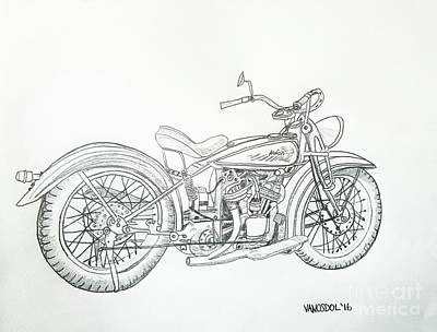 1920 Indian Motorcycle Graphite Pencil Sketch Poster