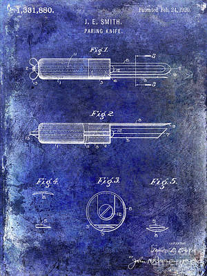 1920 Paring Knife Patent Blue Poster