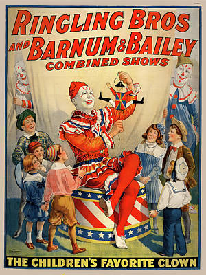 1920 Ringling Bros And Barnum Bailey Childrens Favorite Clown Poster