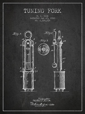 1920 Tuning Fork Patent - Charcoal Poster by Aged Pixel