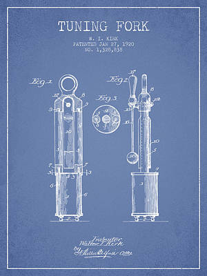 1920 Tuning Fork Patent - Light Blue Poster