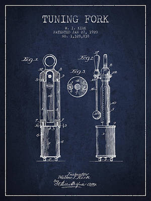 1920 Tuning Fork Patent - Navy Blue Poster by Aged Pixel