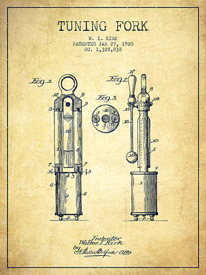 1920 Tuning Fork Patent - Vintage Poster by Aged Pixel
