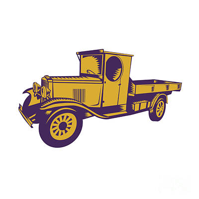 1920s Pick-up Truck Woodcut Poster