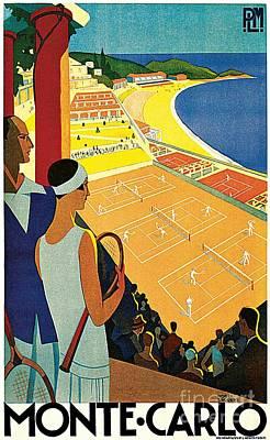 1920s Vintage Monte Carlo Tennis Travel Ad  Poster