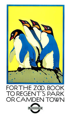 1921 London Underground For The Zoo Penguins Poster Poster