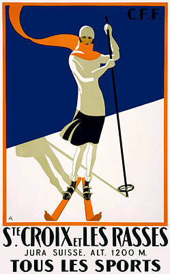 1922 Switzerland Ski Sainte-croix Poster Poster by Retro Graphics