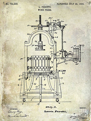 1922 Wine Press Patent Poster by Jon Neidert