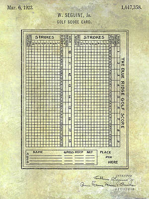 1923 Golf Score Card Patent Poster by Jon Neidert