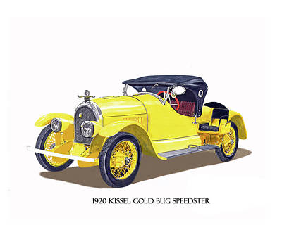 Poster featuring the painting 1923 Kissel Kar  Gold Bug Speedster by Jack Pumphrey