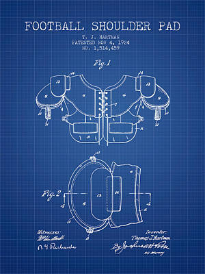1924 Football Shoulder Pad Patent - Blueprint Poster by Aged Pixel
