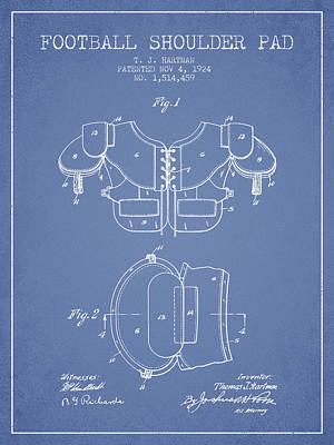 1924 Football Shoulder Pad Patent - Light Blue Poster