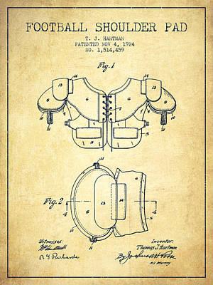 1924 Football Shoulder Pad Patent - Vintage Poster