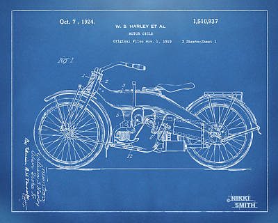1924 Harley Motorcycle Patent Artwork Blueprint Poster