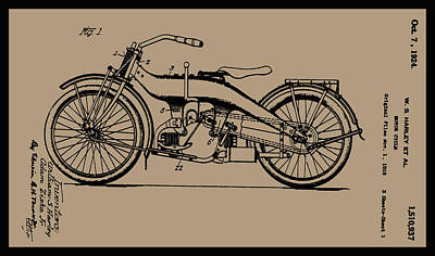 1924 Motorcycle Patent Drawing Poster