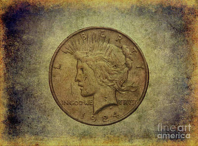 Poster featuring the digital art 1924 Peace Silver Dollar by Randy Steele