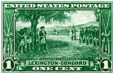 1925 George Washington At Cambridge Stamp Poster